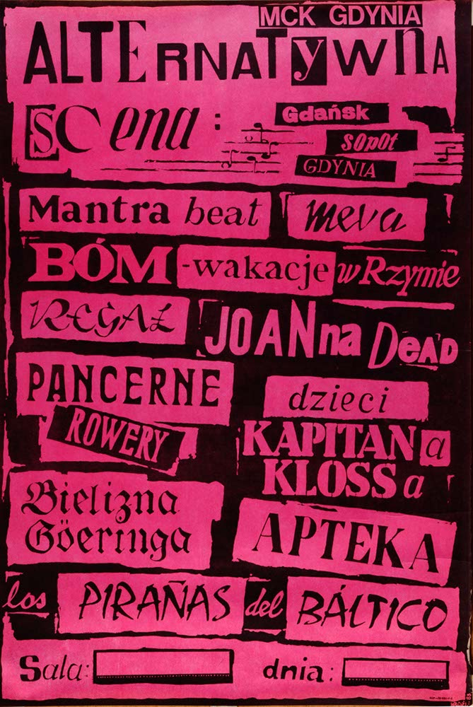 Pierwszy drukowany plakat Trojmiejskiej Sceny Alternatywnej autor Mariusz Budgie Dunaj